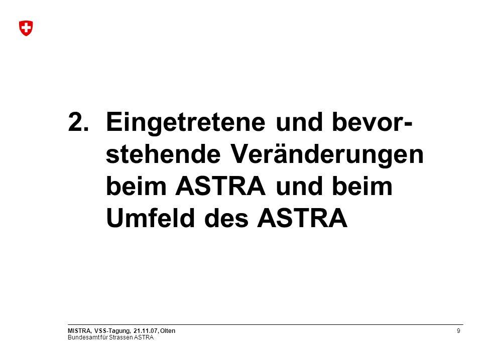 Eingetretene und bevor- stehende Veränderungen beim ASTRA und beim Umfeld des ASTRA