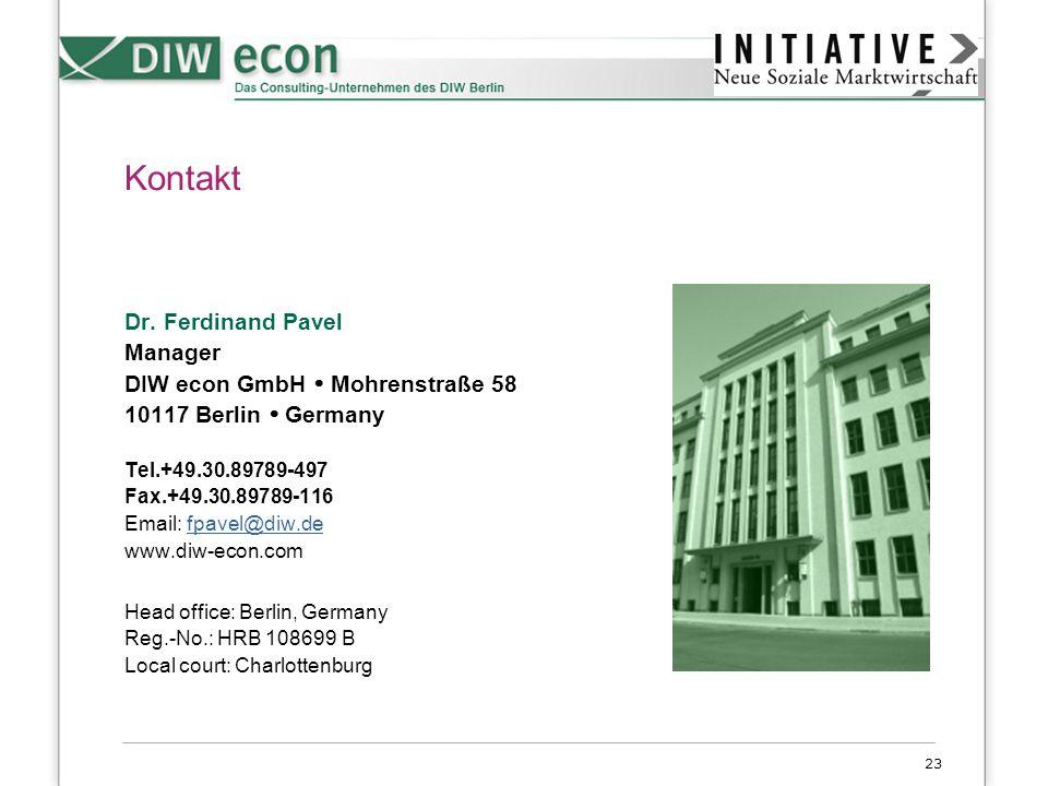 Kontakt Dr. Ferdinand Pavel Manager DIW econ GmbH  Mohrenstraße 58
