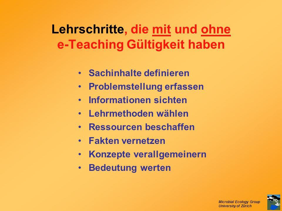 Lehrschritte, die mit und ohne e-Teaching Gültigkeit haben