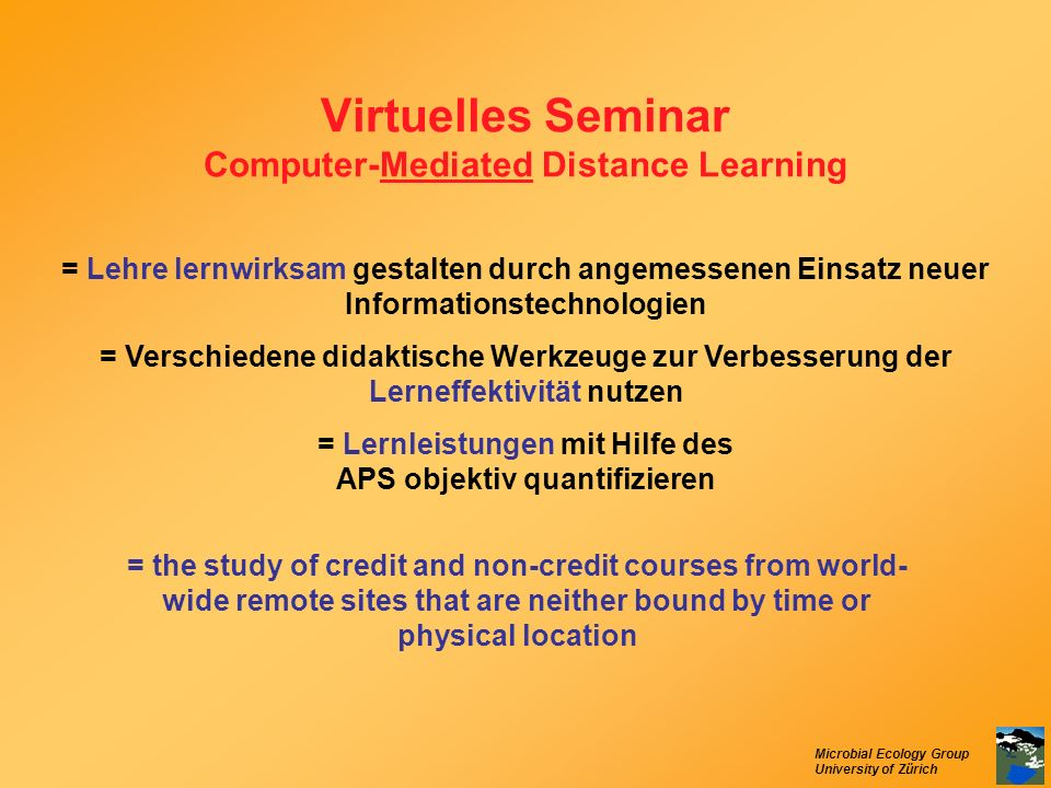 Virtuelles Seminar Computer-Mediated Distance Learning