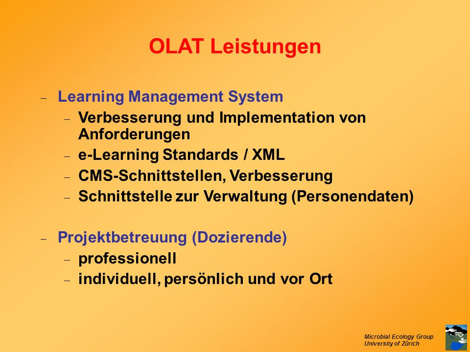 OLAT Leistungen Learning Management System