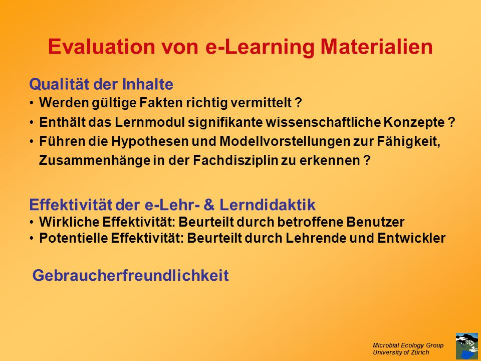 Evaluation von e-Learning Materialien