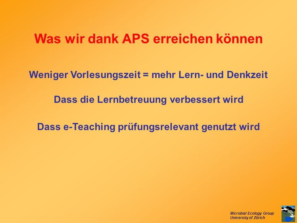 Was wir dank APS erreichen können