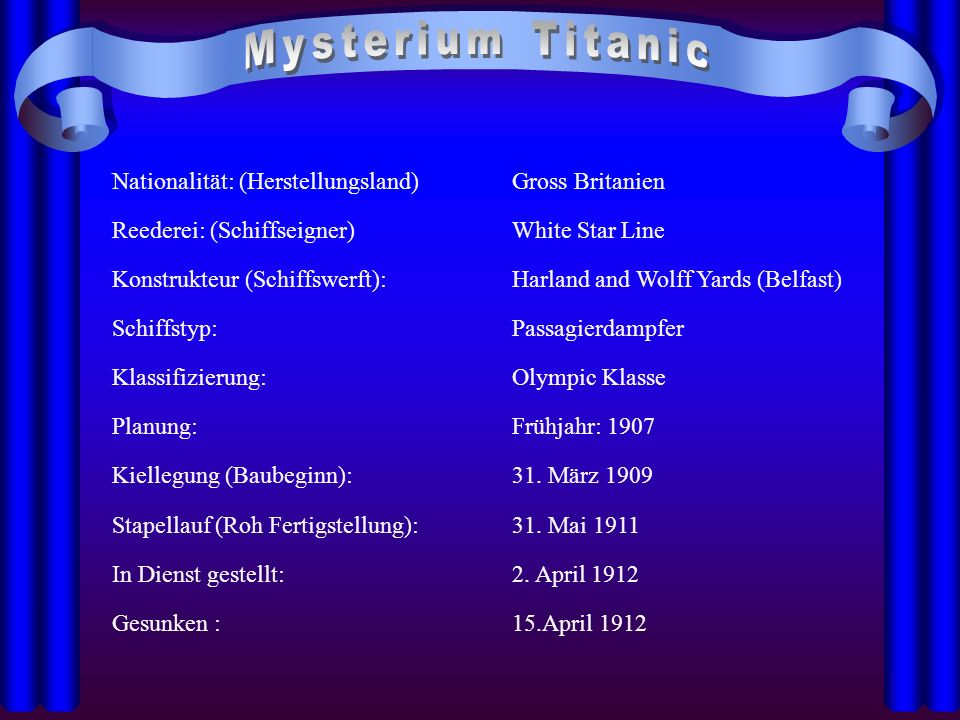 Mysterium Titanic Nationalität: (Herstellungsland) Gross Britanien