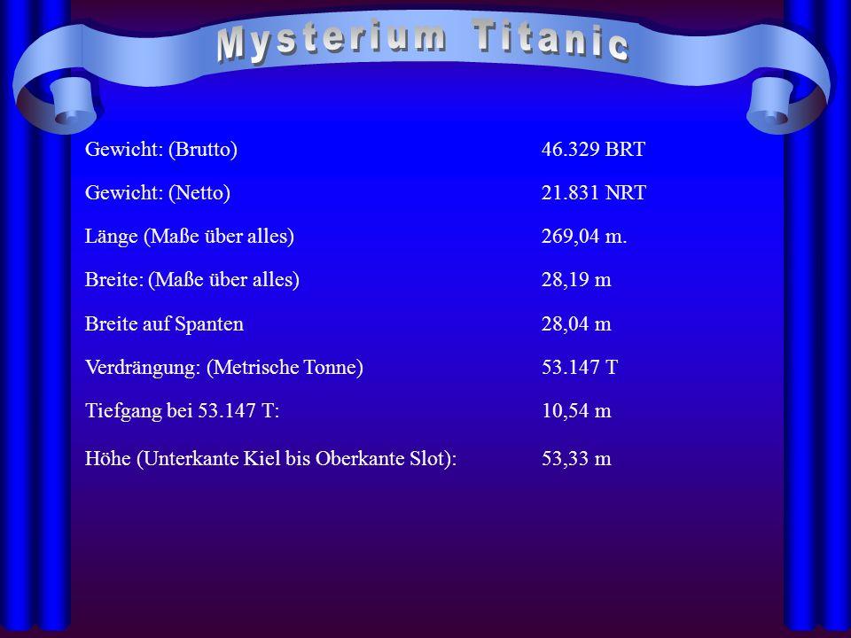 Mysterium Titanic Gewicht: (Brutto) 46.329 BRT Gewicht: (Netto)