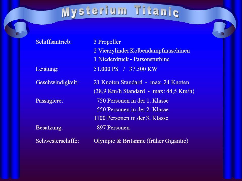 Mysterium Titanic Schiffsantrieb: 3 Propeller
