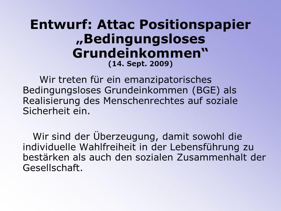 """Entwurf: Attac Positionspapier """"Bedingungsloses Grundeinkommen (14"""