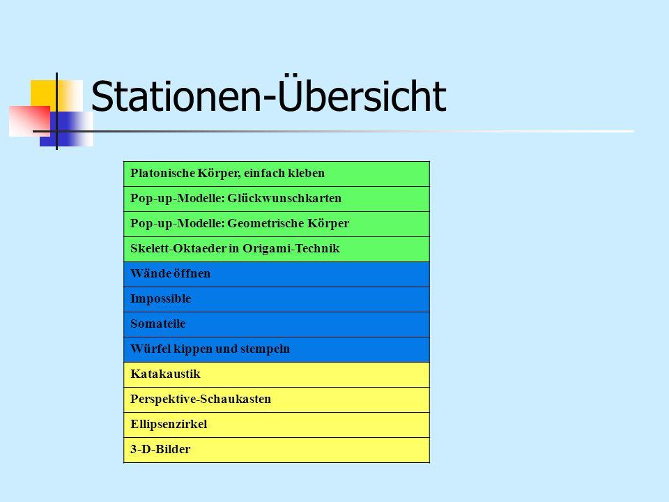 Stationen-Übersicht Platonische Körper, einfach kleben