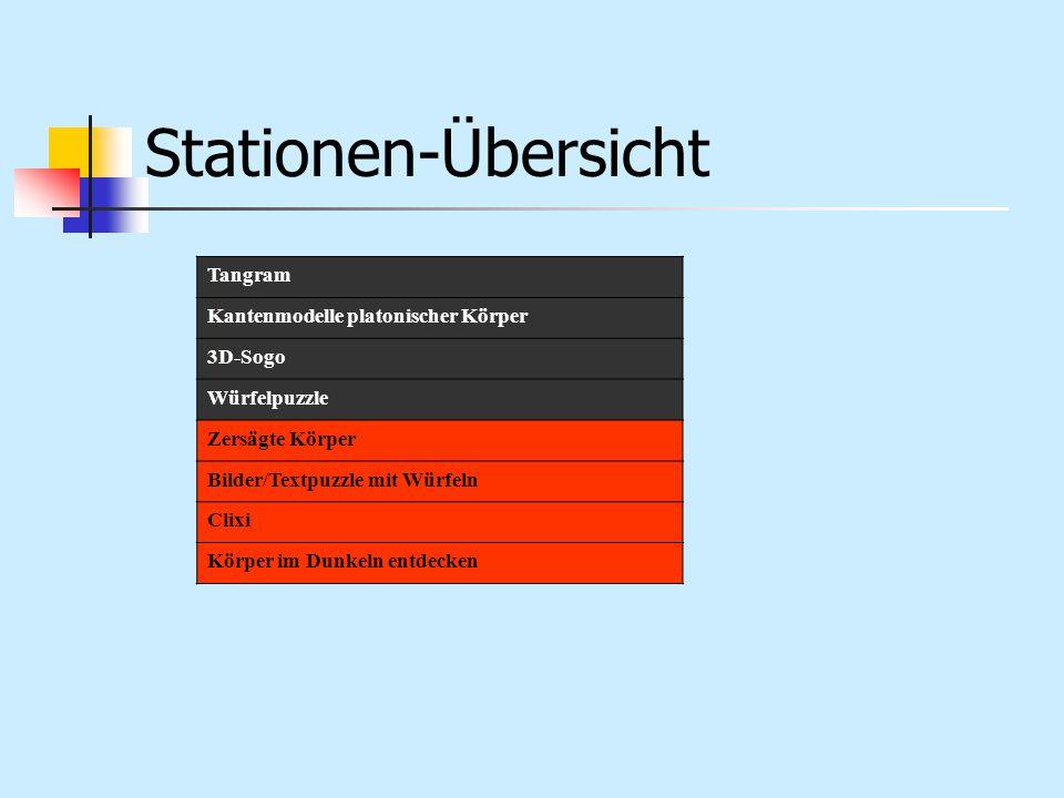 Stationen-Übersicht Tangram Kantenmodelle platonischer Körper 3D-Sogo