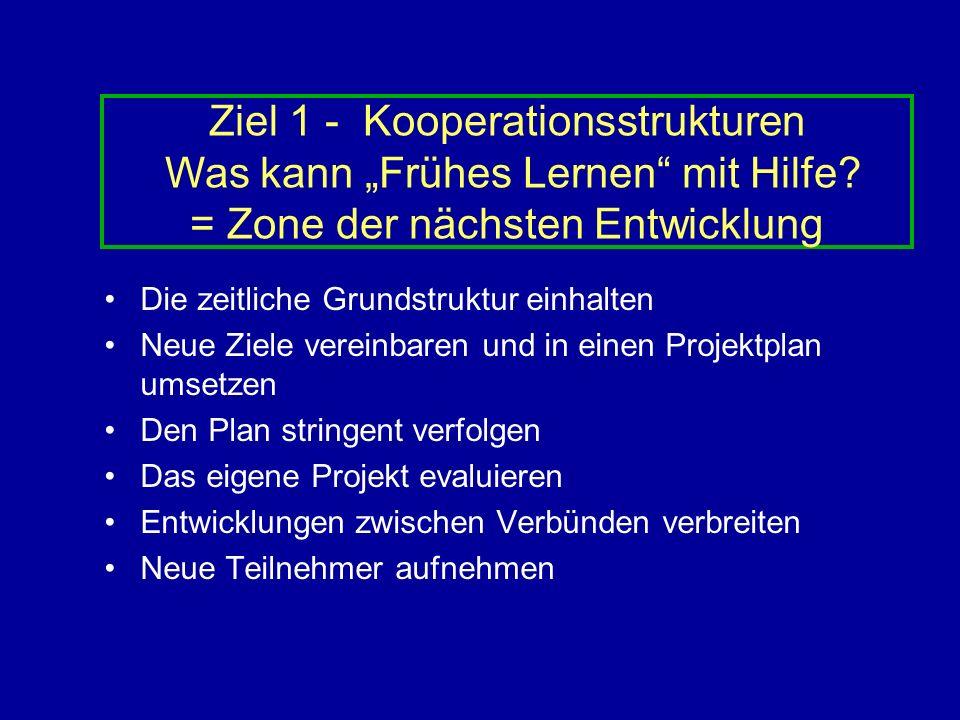 """Ziel 1 - Kooperationsstrukturen Was kann """"Frühes Lernen mit Hilfe"""