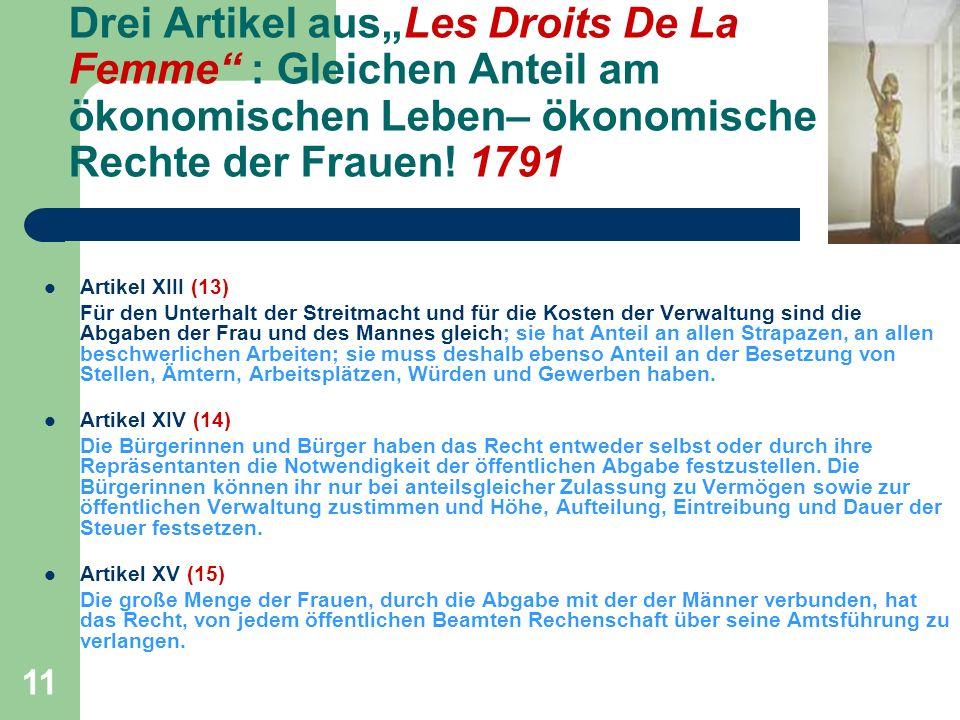 """Drei Artikel aus""""Les Droits De La Femme : Gleichen Anteil am ökonomischen Leben– ökonomische Rechte der Frauen! 1791"""