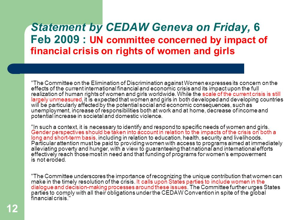 Statement by CEDAW Geneva on Friday, 6 Feb 2009 : UN committee concerned by impact of financial crisis on rights of women and girls