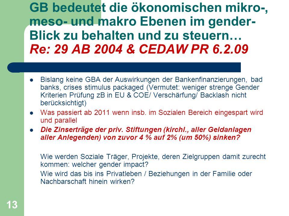 GB bedeutet die ökonomischen mikro-, meso- und makro Ebenen im gender-Blick zu behalten und zu steuern… Re: 29 AB 2004 & CEDAW PR 6.2.09