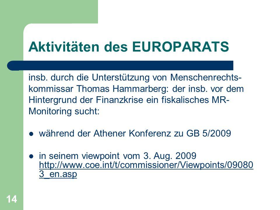 Aktivitäten des EUROPARATS