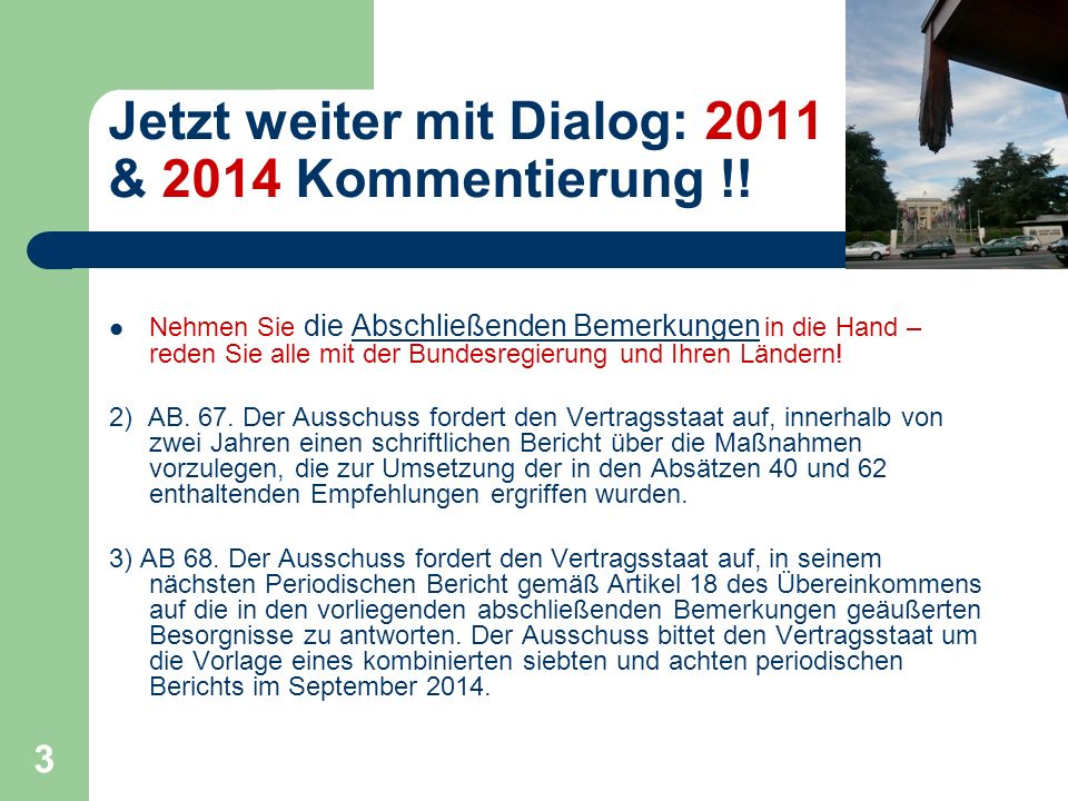 Jetzt weiter mit Dialog: 2011 & 2014 Kommentierung !!