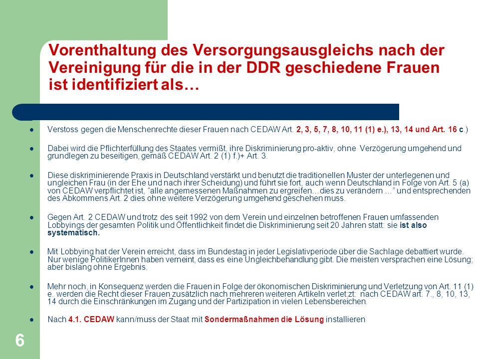 Vorenthaltung des Versorgungsausgleichs nach der Vereinigung für die in der DDR geschiedene Frauen ist identifiziert als…