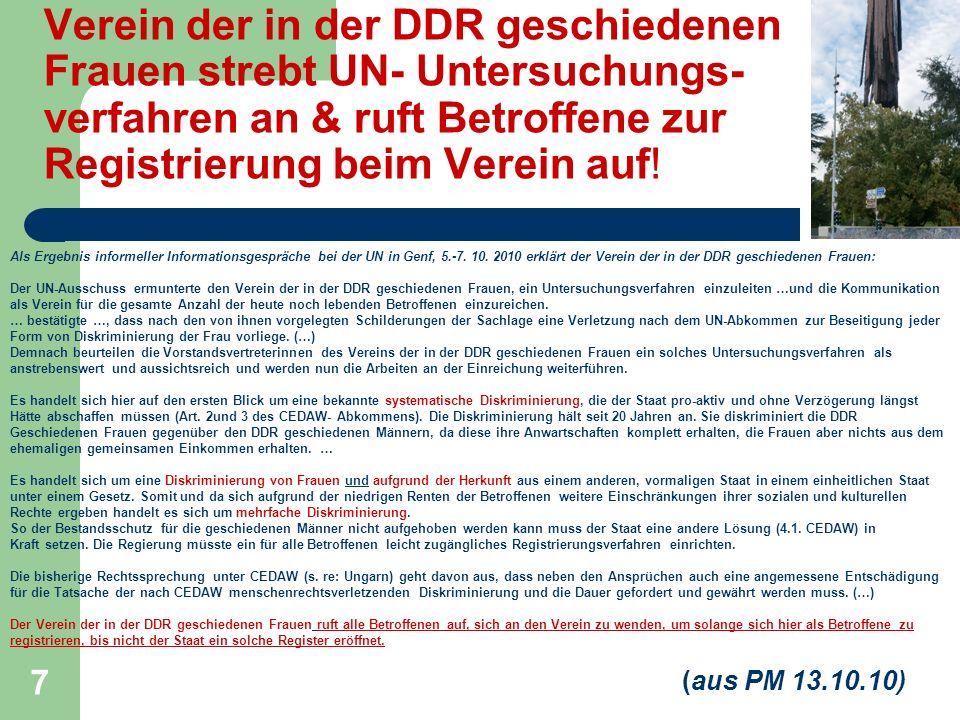 Verein der in der DDR geschiedenen Frauen strebt UN- Untersuchungs-verfahren an & ruft Betroffene zur Registrierung beim Verein auf!