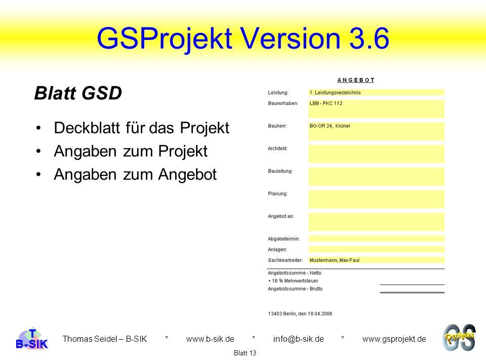 GSProjekt Version 3.6 Blatt GSD Deckblatt für das Projekt