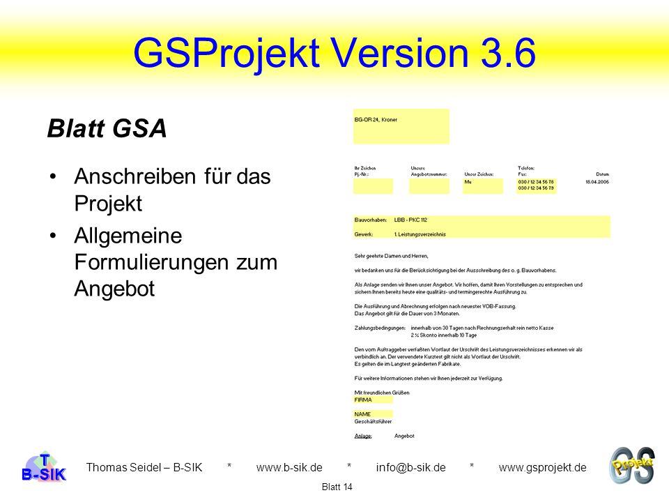 GSProjekt Version 3.6 Blatt GSA Anschreiben für das Projekt