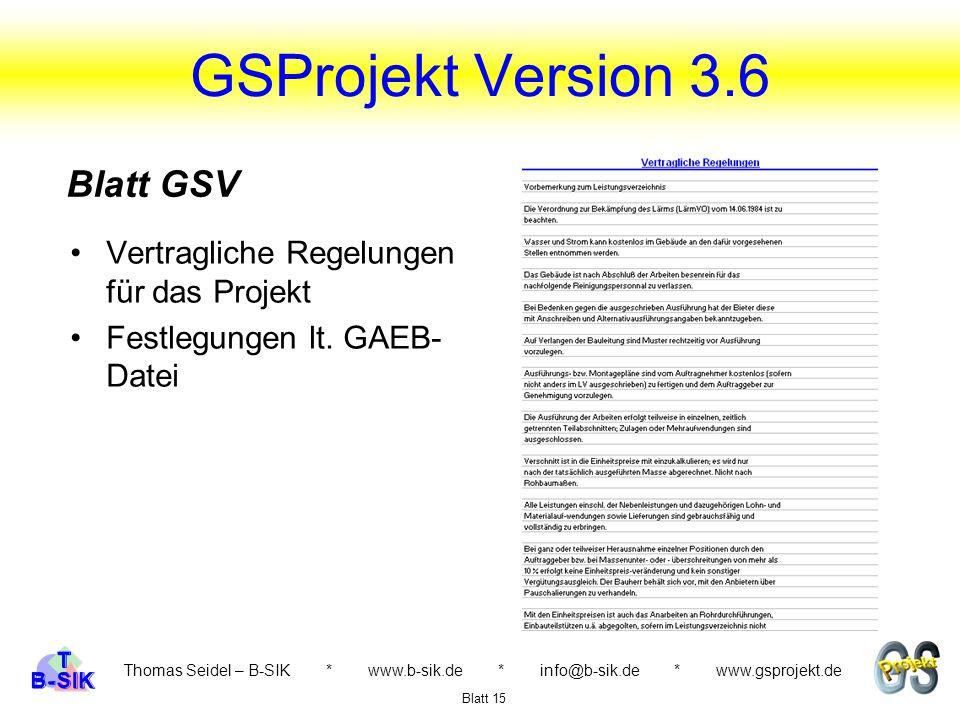 GSProjekt Version 3.6 Blatt GSV