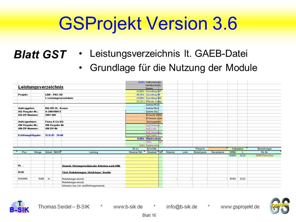 GSProjekt Version 3.6 Blatt GST Leistungsverzeichnis lt. GAEB-Datei