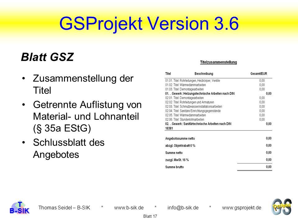 GSProjekt Version 3.6 Blatt GSZ Zusammenstellung der Titel