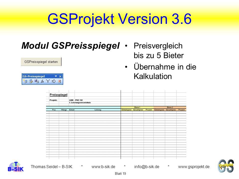 GSProjekt Version 3.6 Modul GSPreisspiegel