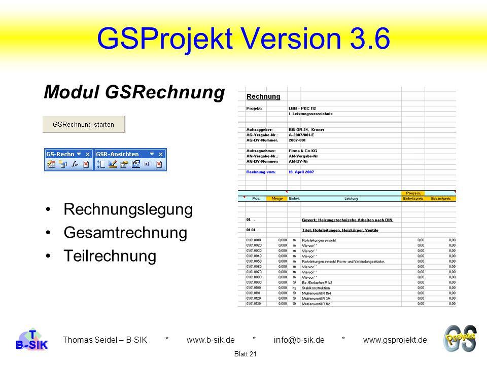 GSProjekt Version 3.6 Modul GSRechnung Rechnungslegung Gesamtrechnung