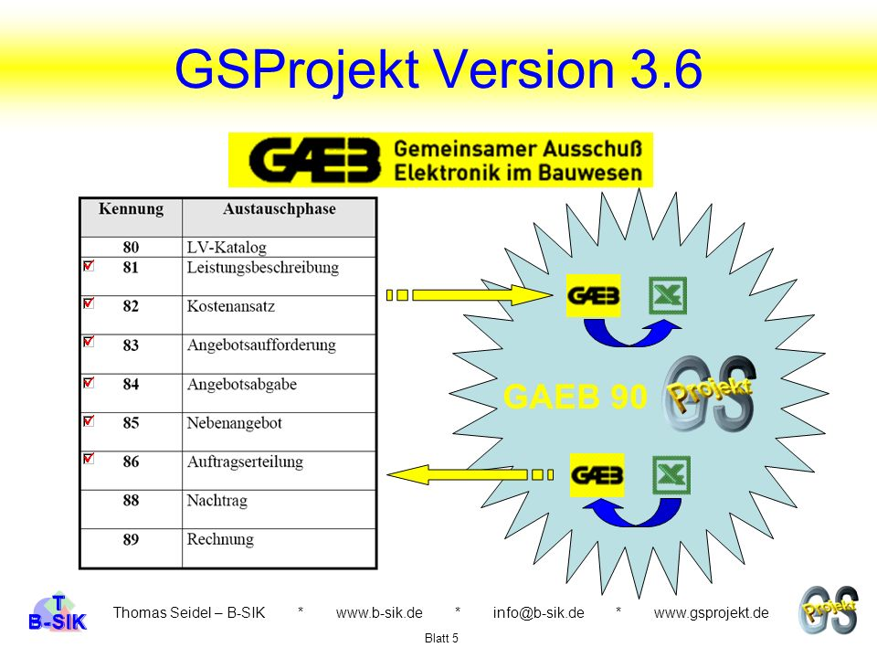 GSProjekt Version 3.6 GAEB 90