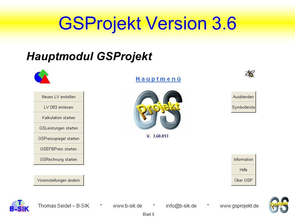 GSProjekt Version 3.6 Hauptmodul GSProjekt