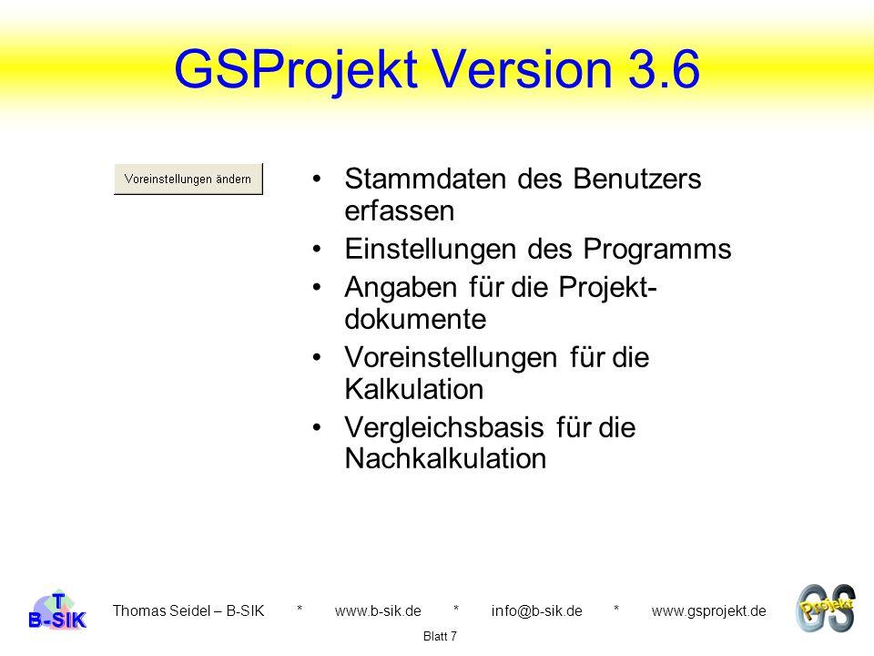 GSProjekt Version 3.6 Stammdaten des Benutzers erfassen