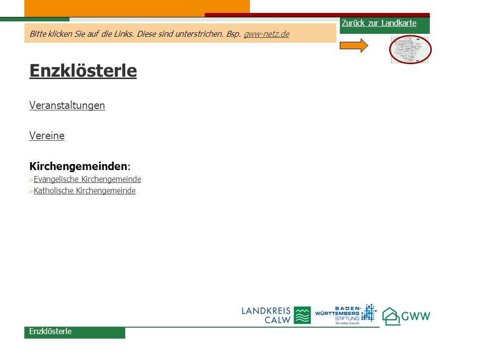 Enzklösterle Veranstaltungen Vereine Kirchengemeinden:
