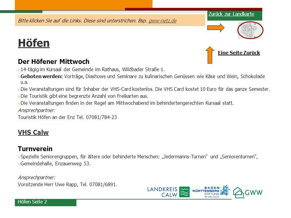 Höfen Der Höfener Mittwoch VHS Calw Turnverein Zurück zur Landkarte