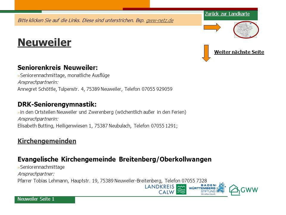 Neuweiler Seniorenkreis Neuweiler: DRK-Seniorengymnastik: