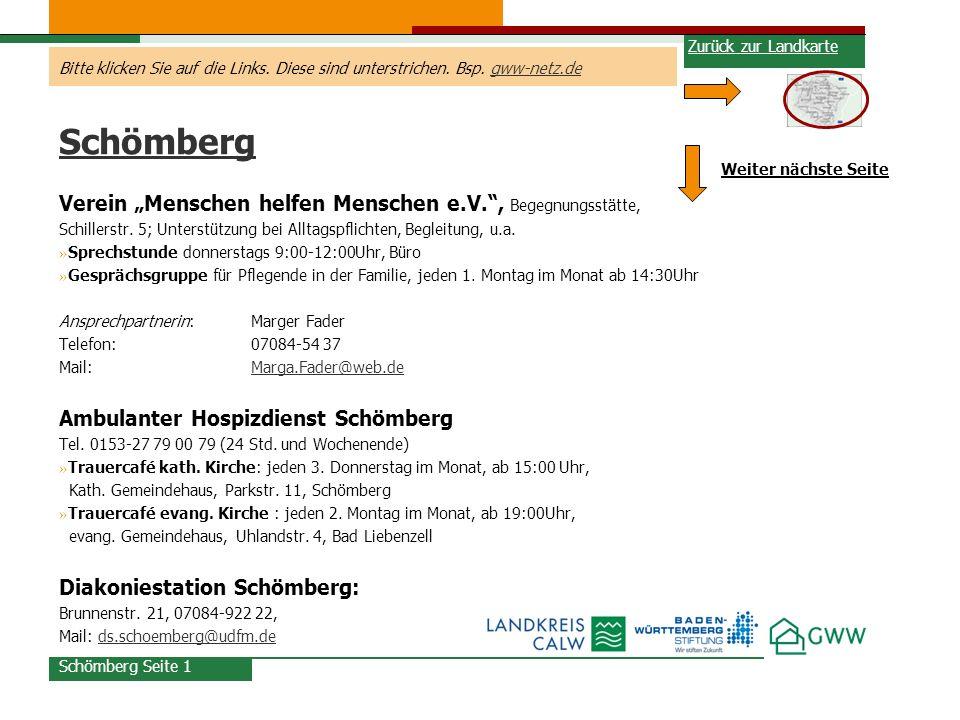 """Schömberg Verein """"Menschen helfen Menschen e.V. , Begegnungsstätte,"""