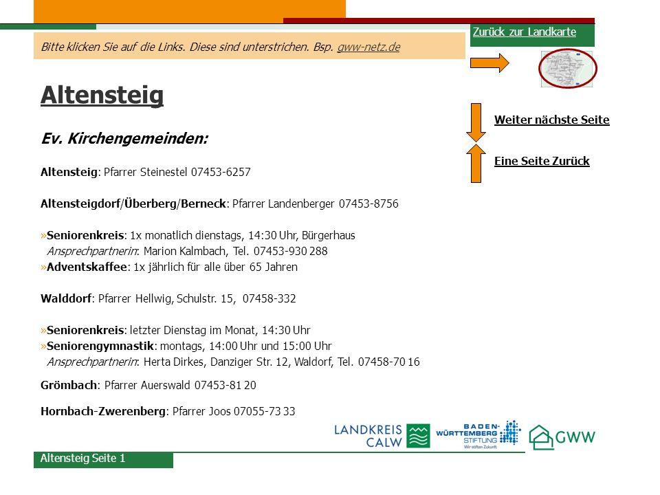 Altensteig Ev. Kirchengemeinden: Zurück zur Landkarte
