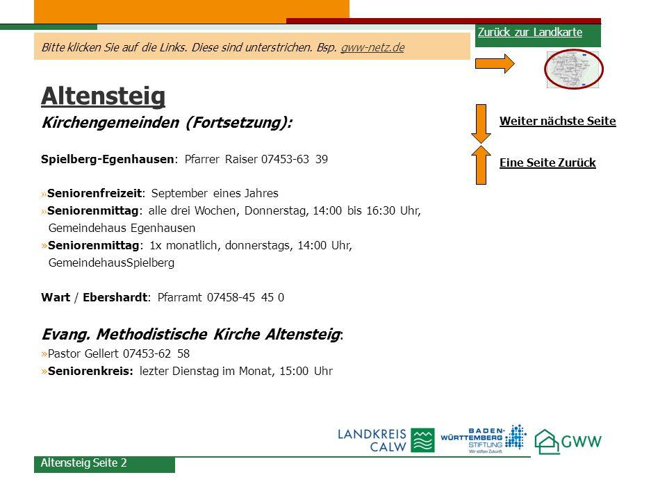 Altensteig Kirchengemeinden (Fortsetzung):