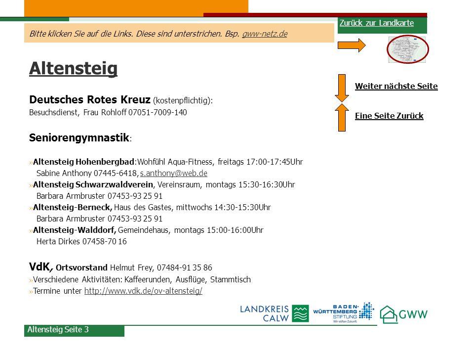 Altensteig Deutsches Rotes Kreuz (kostenpflichtig): Seniorengymnastik: