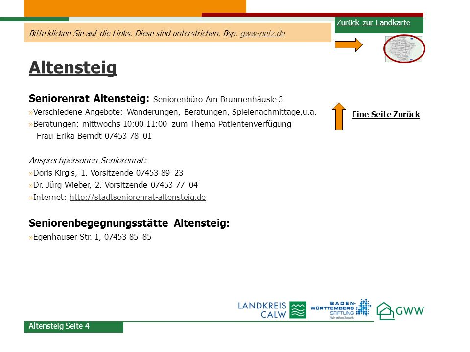 Altensteig Seniorenrat Altensteig: Seniorenbüro Am Brunnenhäusle 3