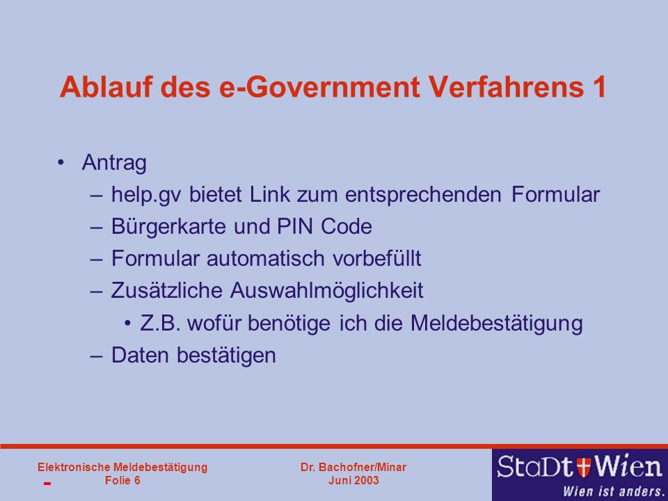 Ablauf des e-Government Verfahrens 1