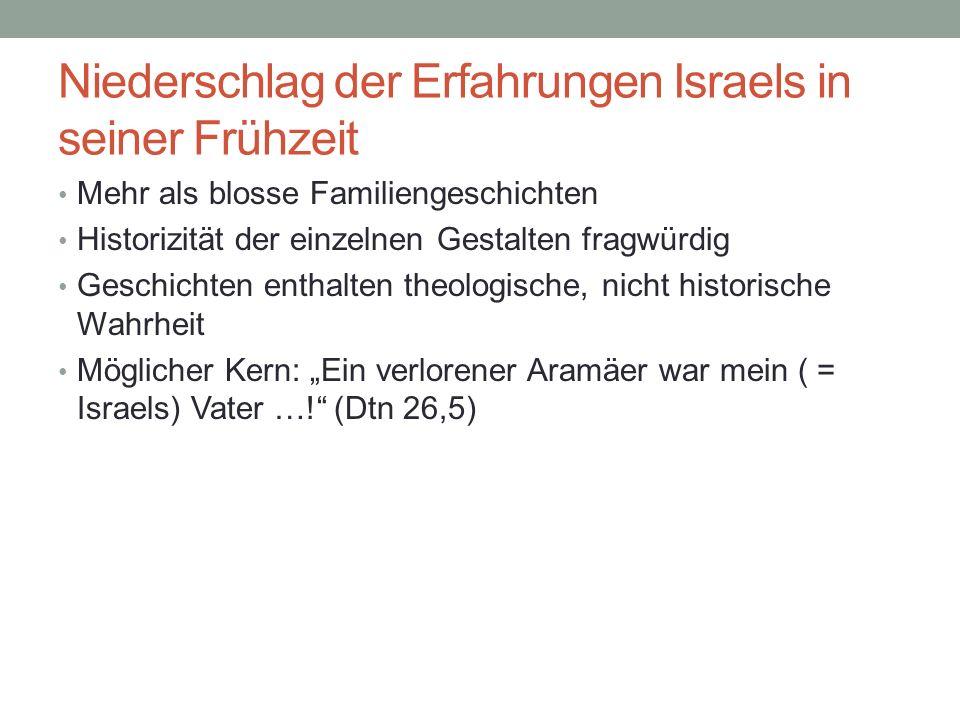 Niederschlag der Erfahrungen Israels in seiner Frühzeit