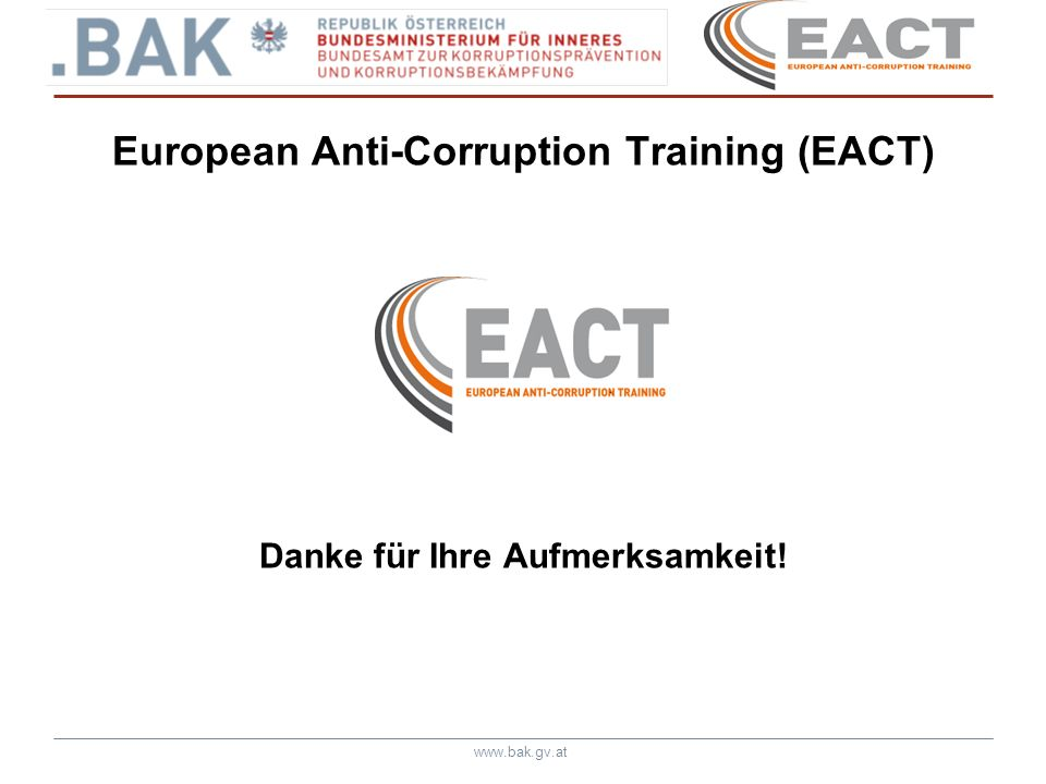 European Anti-Corruption Training (EACT)