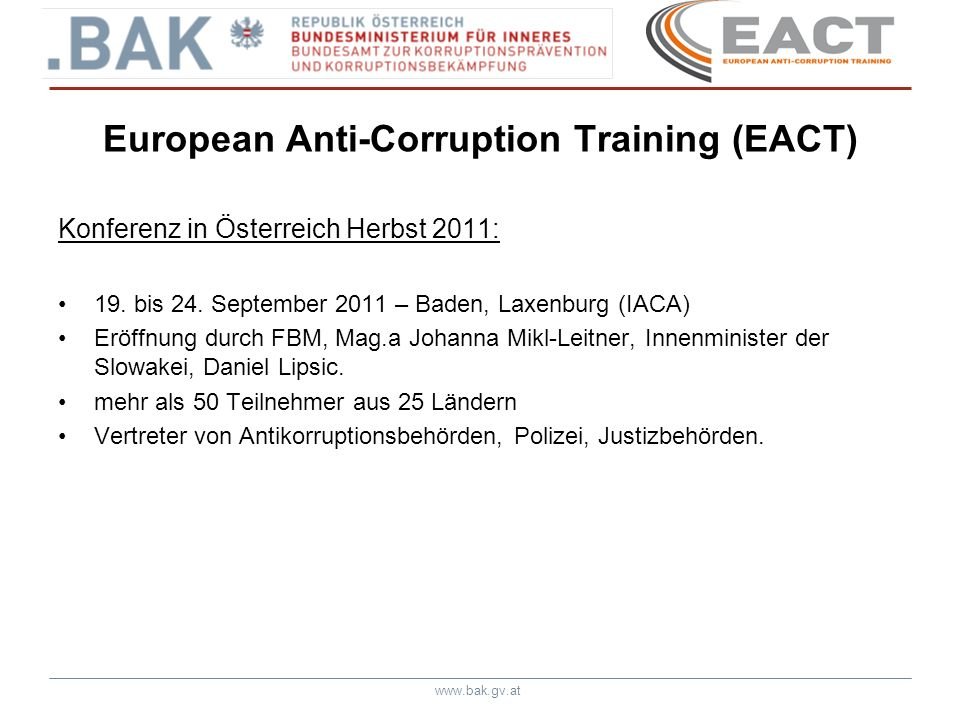 European Anti-Corruption Training (EACT)