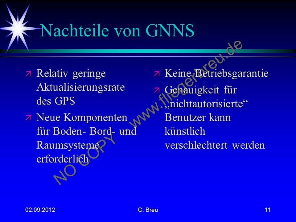Nachteile von GNNS Relativ geringe Aktualisierungsrate des GPS