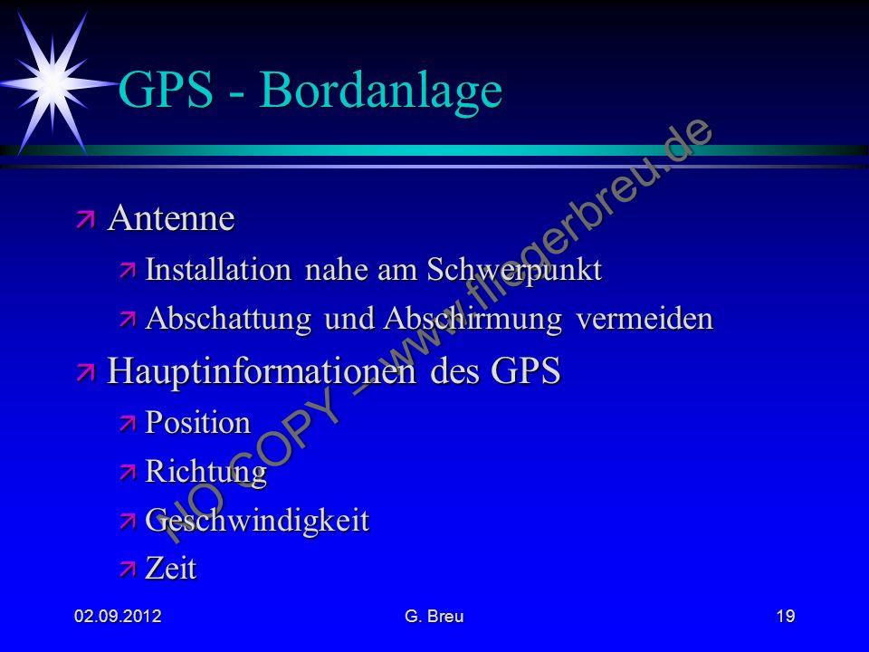 GPS - Bordanlage Antenne Hauptinformationen des GPS