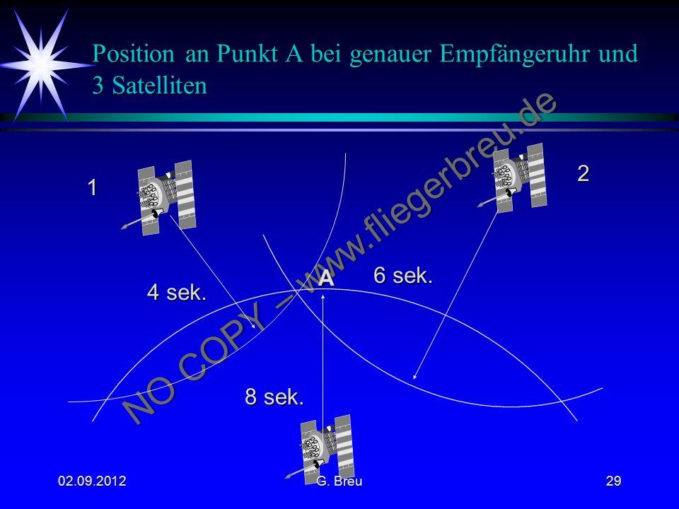 Position an Punkt A bei genauer Empfängeruhr und 3 Satelliten