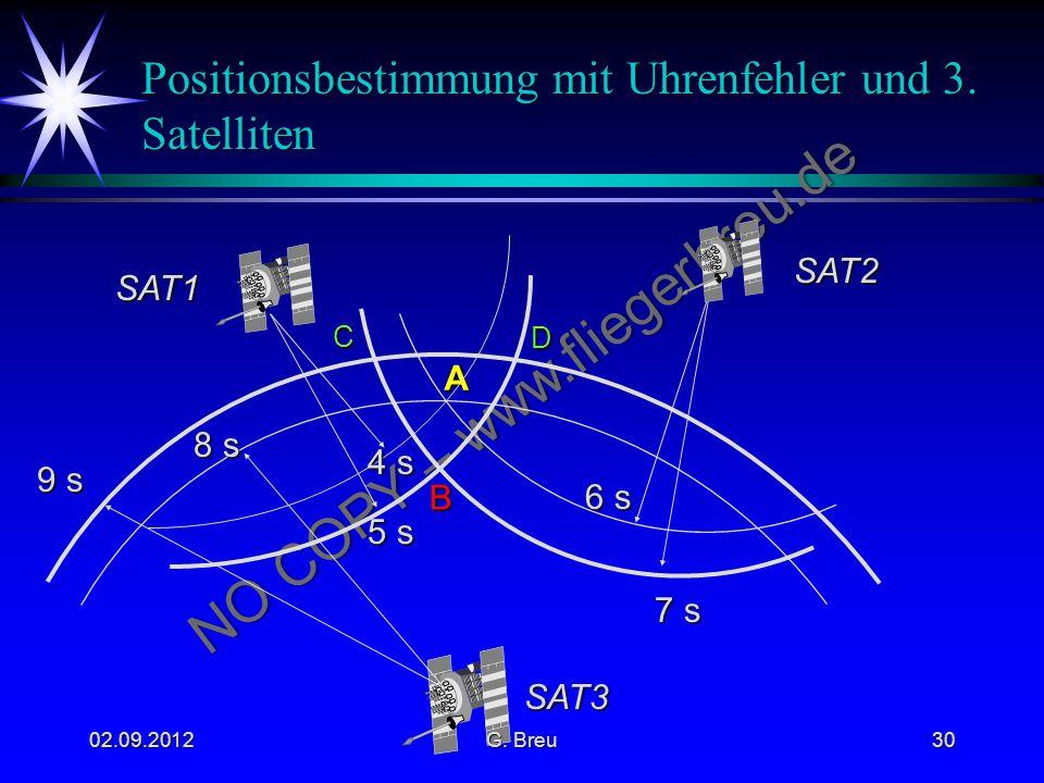 Positionsbestimmung mit Uhrenfehler und 3. Satelliten