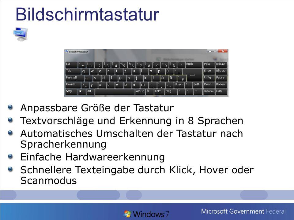 Bildschirmtastatur Anpassbare Größe der Tastatur