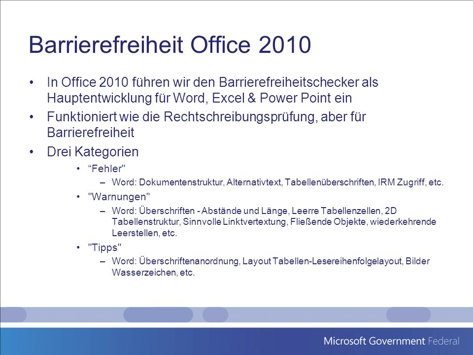 Barrierefreiheit Office 2010