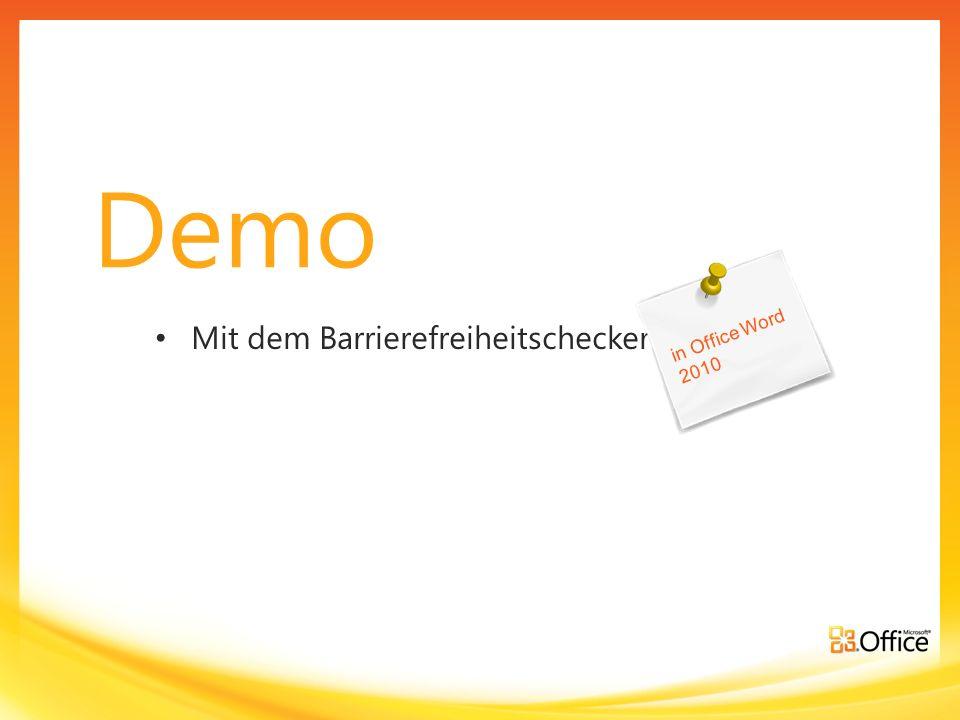 Demo in Office Word 2010 Mit dem Barrierefreiheitschecker